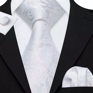 Other - EXTRA LONG Men's Silk Coordinated Tie Set, White